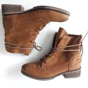 Hibou Shoes - Hibou Cognac Suede Leather Combat Boots Size 36